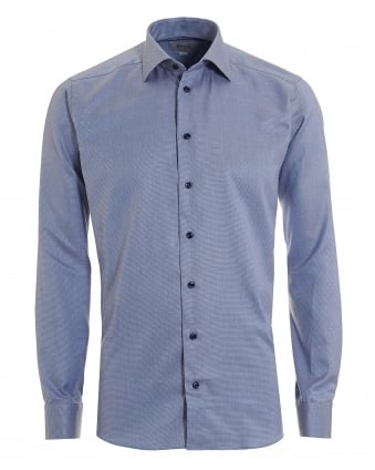 Mens Pinhead Patterned Slim Fit Navy Blue Shirt