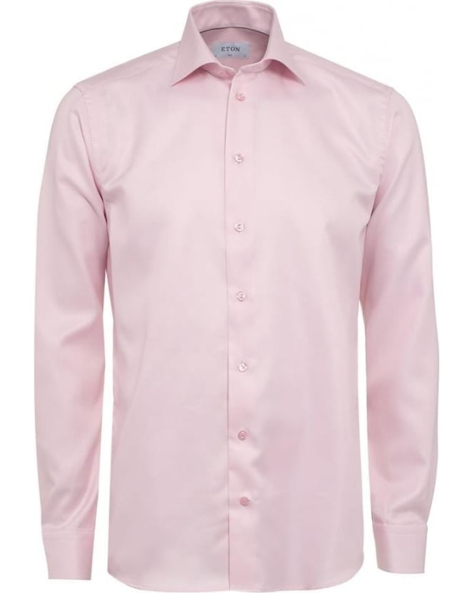 Eton Shirts Mens Shirt Diagonal Twill Slim Fit Pink Shirt