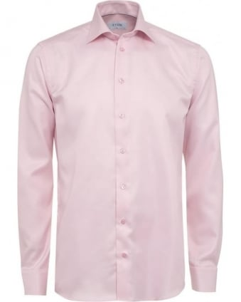 Mens Shirt Diagonal Twill Slim Fit Pink Shirt