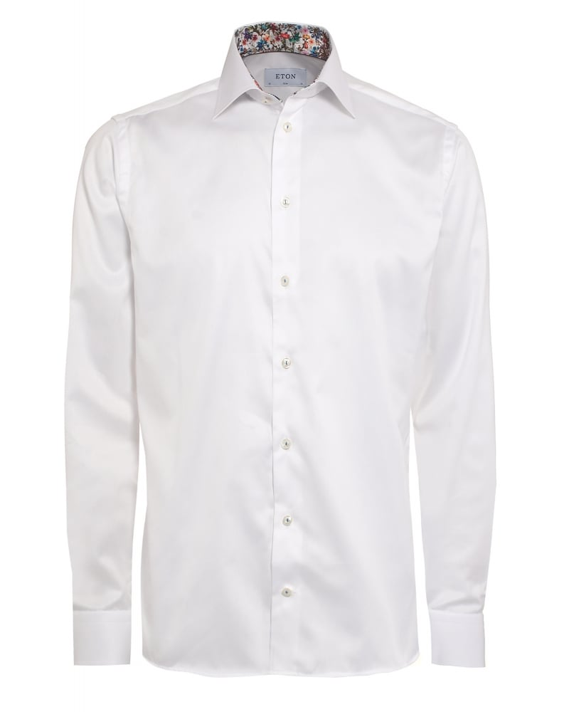 Eton Shirts Mens Shirt Floral Contrast Trim Slim Fit White Shirt