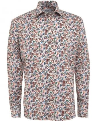 Mens Shirt Floral Slim Fit Poplin Shirt