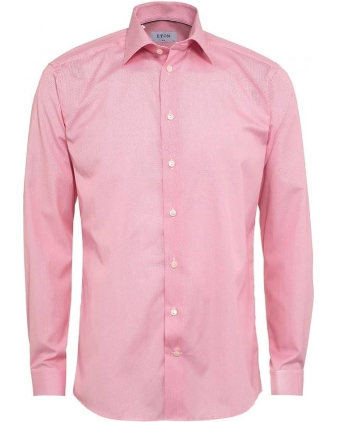 Eton Shirts Mens Shirt Honeycomb Pink Slim Fit Shirt