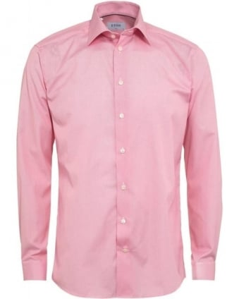 Mens Shirt Honeycomb Pink Slim Fit Shirt
