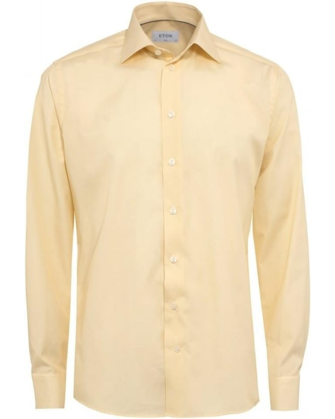 Eton Shirts Mens Shirt Honeycomb Yellow Slim Fit Shirt