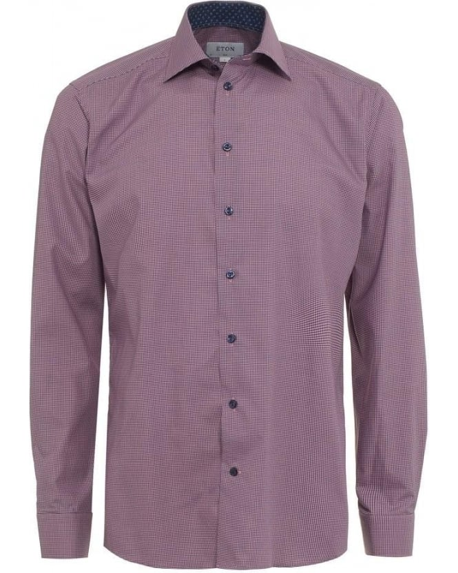 Eton Shirts Mens Shirt Micro Check Slim Fit Pink Shirt