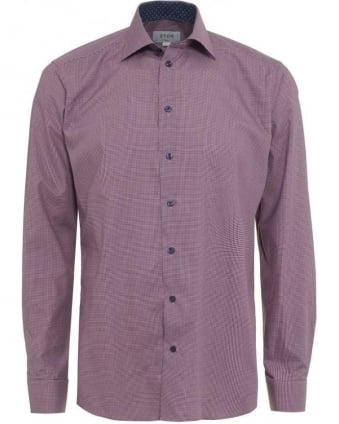 Mens Shirt Micro Check Slim Fit Pink Shirt