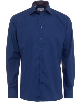 Mens Shirt Micro Square Print Slim Fit Blue Shirt