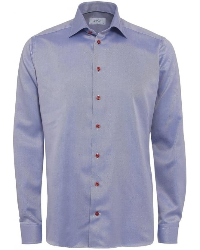 Eton Shirts Mens Shirt Red Button Diagonal Slim Fit Blue Shirt