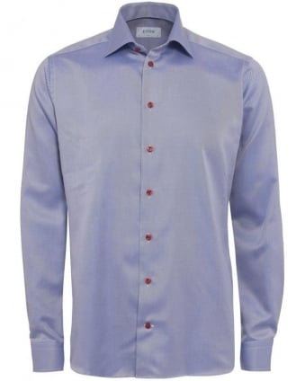 Mens Shirt Red Button Diagonal Slim Fit Blue Shirt