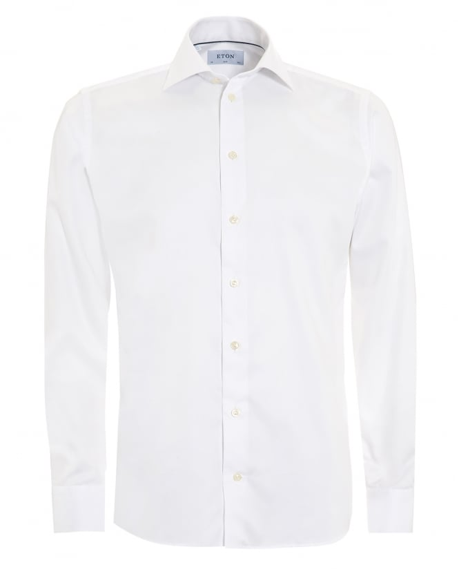 Eton Shirts Mens Slim Fit Basket Weave Twill Cotton White Shirt