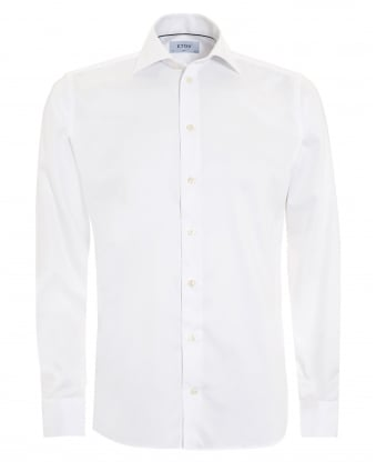 Mens Slim Fit Basket Weave Twill Cotton White Shirt