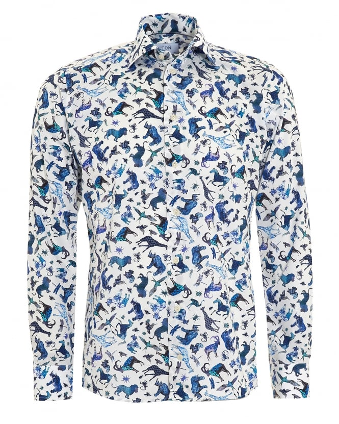 Eton Shirts Mens Slim Fit Blue Animal Print White Cotton Shirt