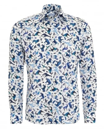 Mens Slim Fit Blue Animal Print White Cotton Shirt