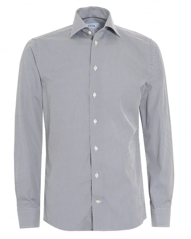 Eton Shirts Mens Slim Fit Blue Micro Leaf Print White Cotton Shirt