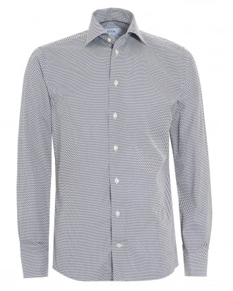 Mens Slim Fit Blue Micro Leaf Print White Cotton Shirt