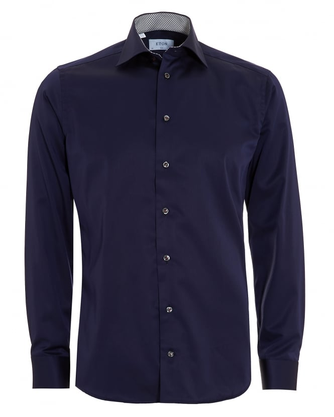 Eton Shirts Mens Slim Fit Leaf Trim Navy Blue Cotton Shirt