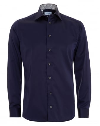 Mens Slim Fit Leaf Trim Navy Blue Cotton Shirt