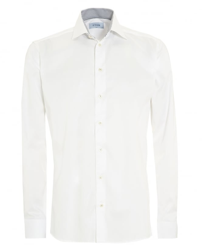 Eton Shirts Mens Slim Fit Leaf Trim White Cotton Shirt
