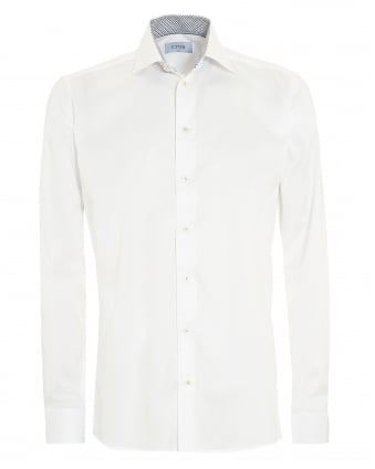 Mens Slim Fit Leaf Trim White Cotton Shirt