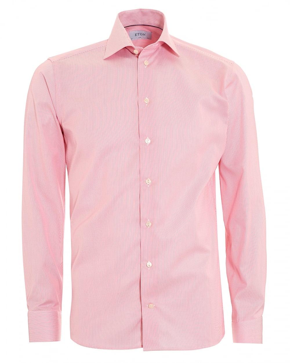 Eton shirts mens slim fit micro stripe pink cotton shirt for Mens pink shirts uk