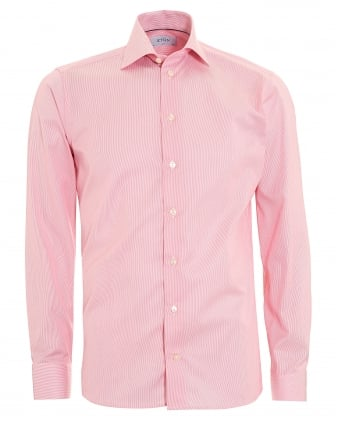 Mens Slim Fit Micro Stripe Pink Cotton Shirt