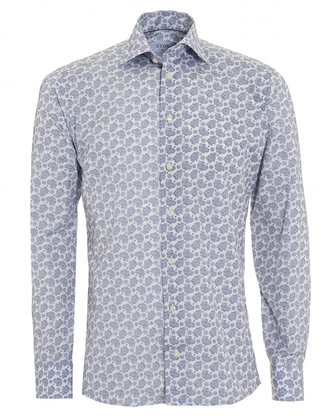 Eton Shirts Mens Slim Fit Paisley Print Blue Cotton Shirt