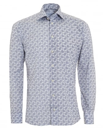 Mens Slim Fit Paisley Print Blue Cotton Shirt