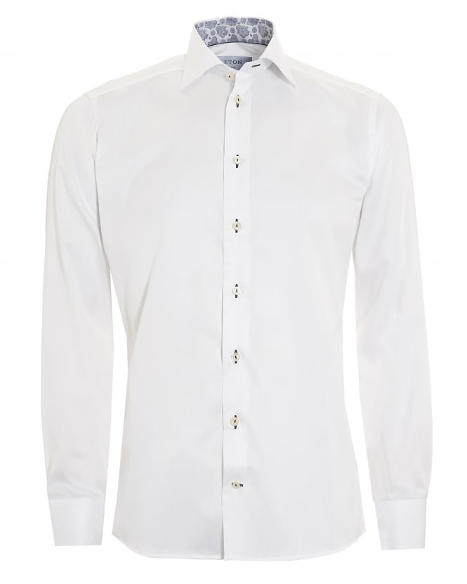 Eton Shirts Mens Slim Fit Paisley Trim White Cotton Shirt
