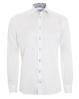 Mens Slim Fit Paisley Trim White Cotton Shirt