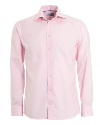 Mens Slim Fit Pink Button Down Collared Shirt