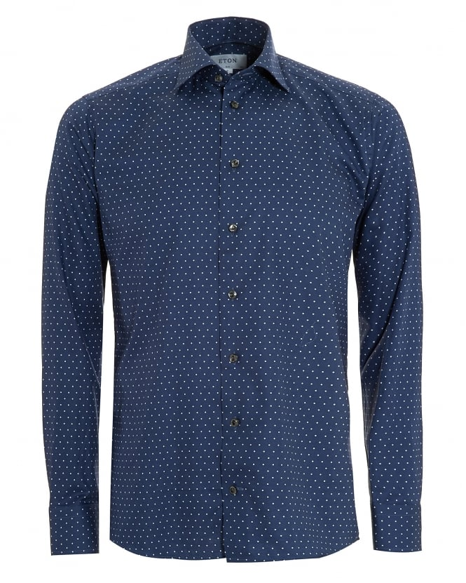 Eton Shirts Mens Slim Fit Polka Dot Cotton Navy Blue Shirt