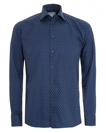 Mens Slim Fit Polka Dot Cotton Navy Blue Shirt