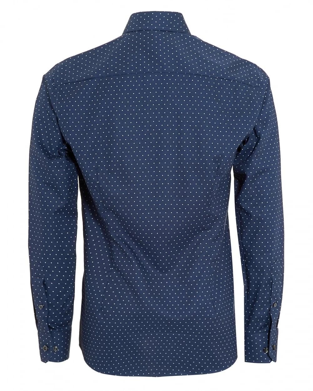 Shirt design with collar - Mens Slim Fit Polka Dot Cotton Navy Blue Shirt