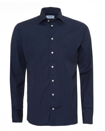 Mens Slim Fit Shirt, Sky Dot Print Navy Blue Shirt