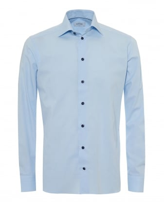Mens Super Fine Stripe Slim Fit Sky Blue Shirt