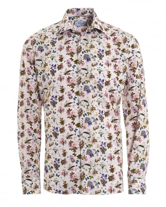 Mens Swedish Floral Print Slim Fit Light Ground White Shirt