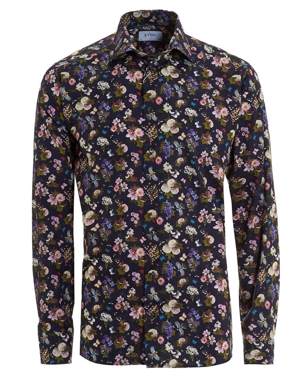 cc4c4c3e6e1 Eton Shirts Mens Swedish Floral Print Slim Fit Navy Blue Shirt