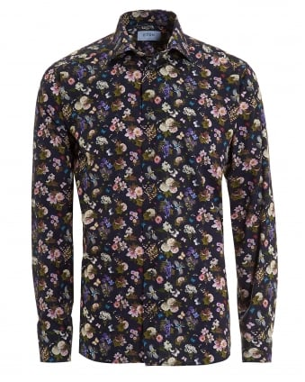 Mens Swedish Floral Print Slim Fit Navy Blue Shirt