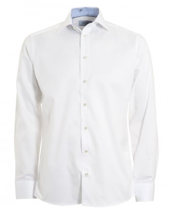 Mens White Slim Fit Banana Detail Shirt
