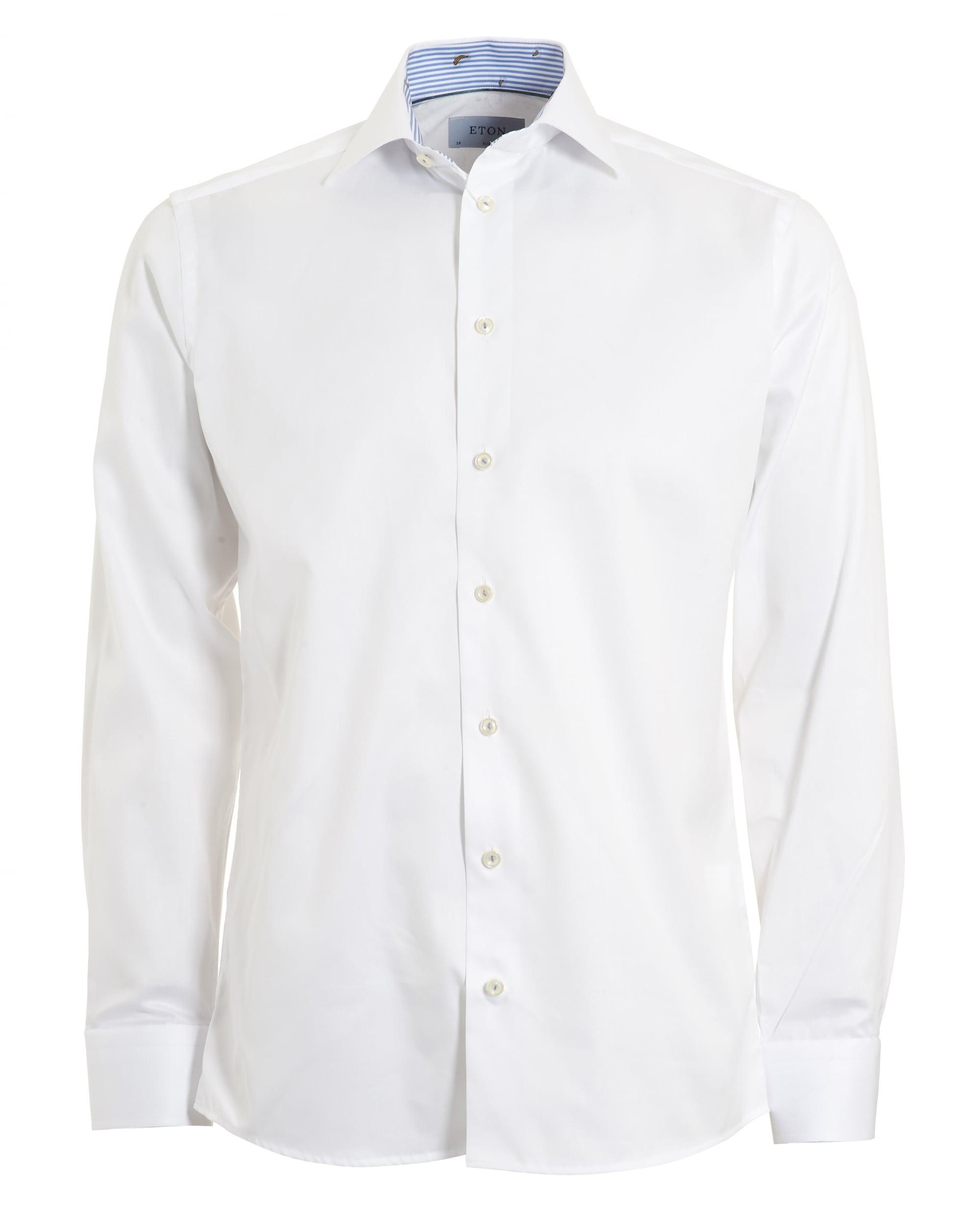 Eton Shirts Mens White Slim Fit Banana Detail Shirt