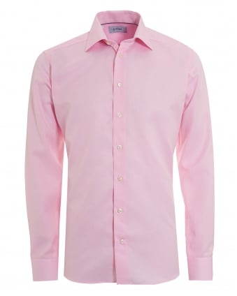 Mens Woven Twill Slim Fit Pink Shirt
