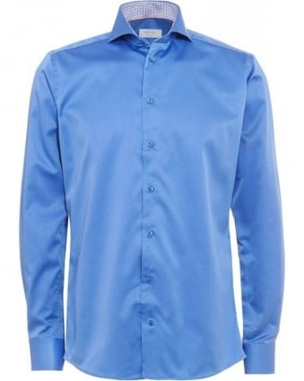 Mid Blue Owl Print Collar Shirt