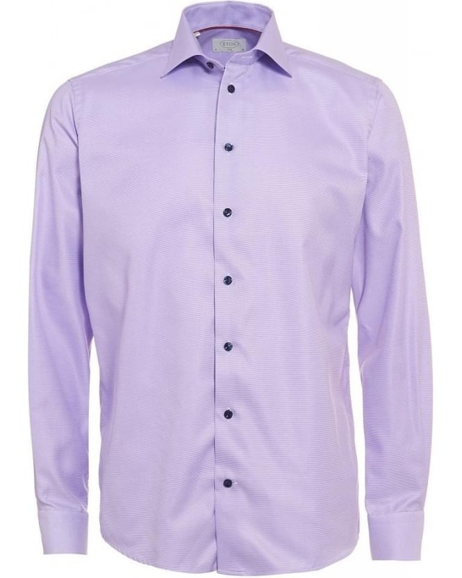 Eton Shirts Purple Fine Twill Pinhead Shirt