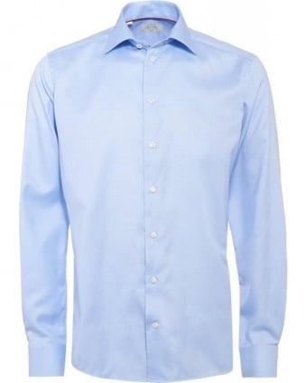 Sky Blue Slim Fit Cambridge Twill Cotton Shirt