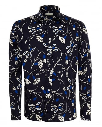 Mens Abstract Floral Print Shirt, Regular Fit Navy Blue Shirt
