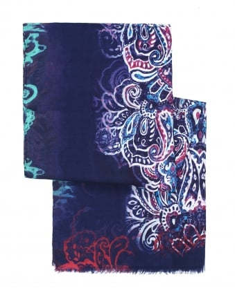 Mens African Style Pattern Blue Scarf