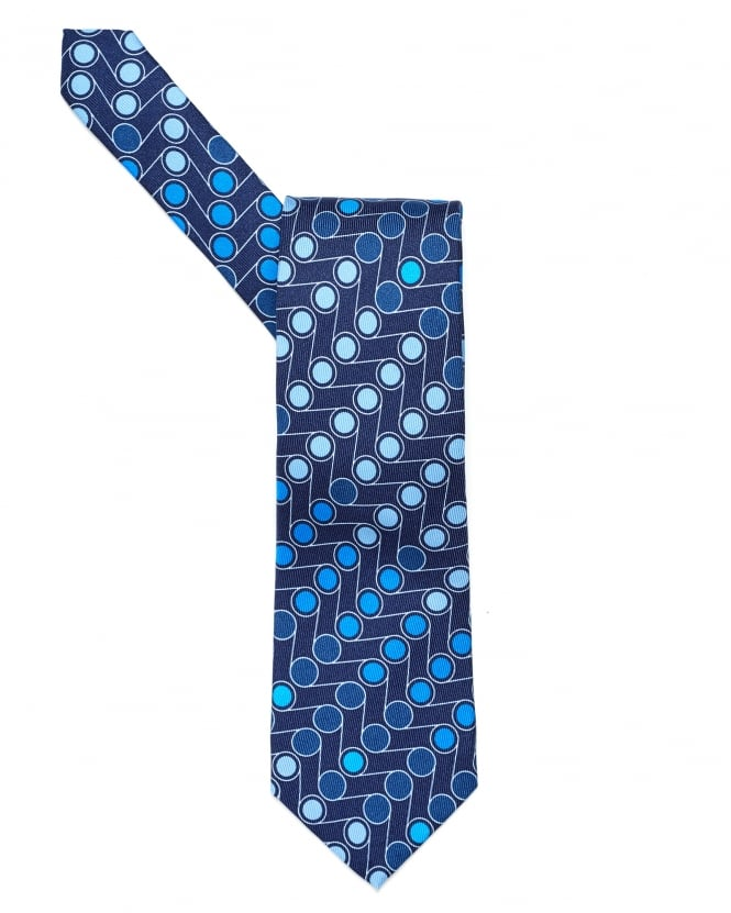 Etro Mens All Over Assorted Blue Dots Print Tie, Silk Blue Tie