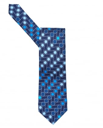 Mens All Over Assorted Blue Dots Print Tie, Silk Blue Tie