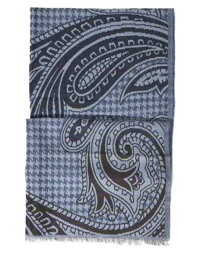 Etro Mens All Over Checked Paisley Print Navy Scarf