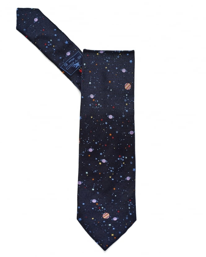 Etro Mens All Over Constellation Print Navy Tie